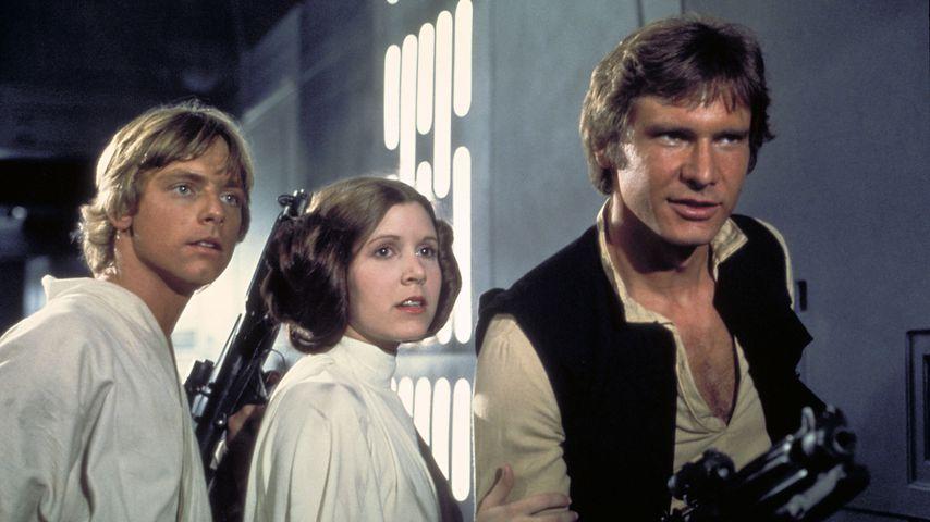 """Mark Hamill, Carrie Fisher und Harrison Ford in """"Krieg der Sterne"""""""
