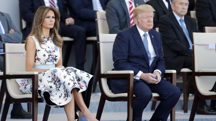 Melania und Donald Trump bei einer Militärparade in Paris