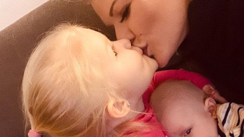 Melanie Müller mit ihrer Tochter Mia Rose und ihrem Sohn Matty