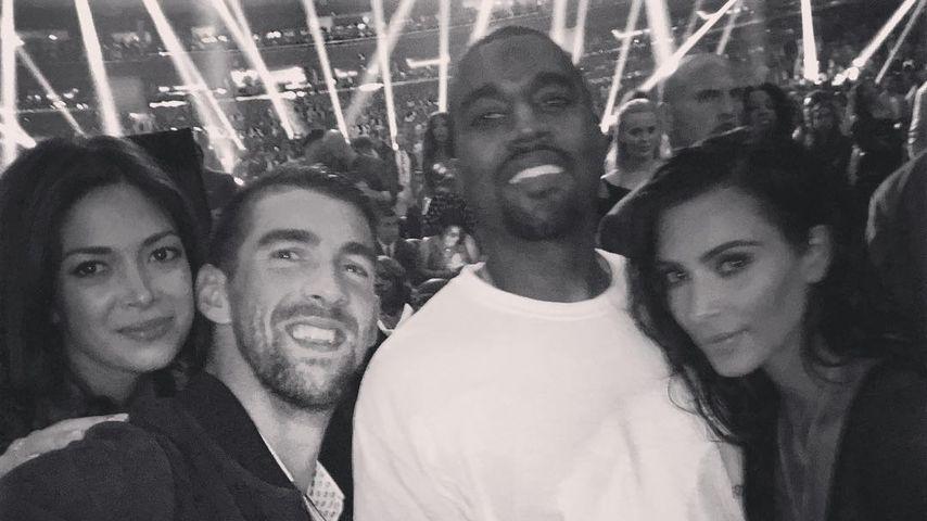 Nicole Johnson, Michael Phelps, Kanye West & Kim Kardashian (v.l.)