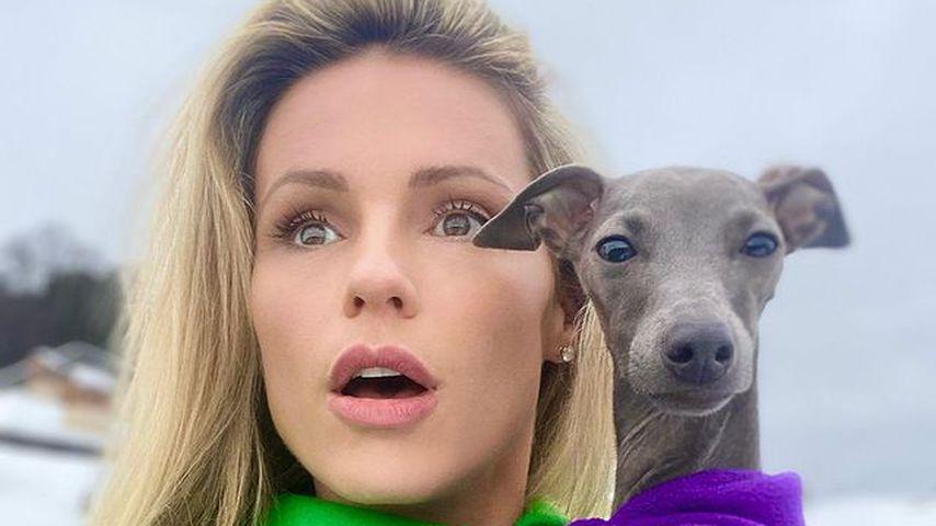 Michelle Hunziker mit ihrem Hund