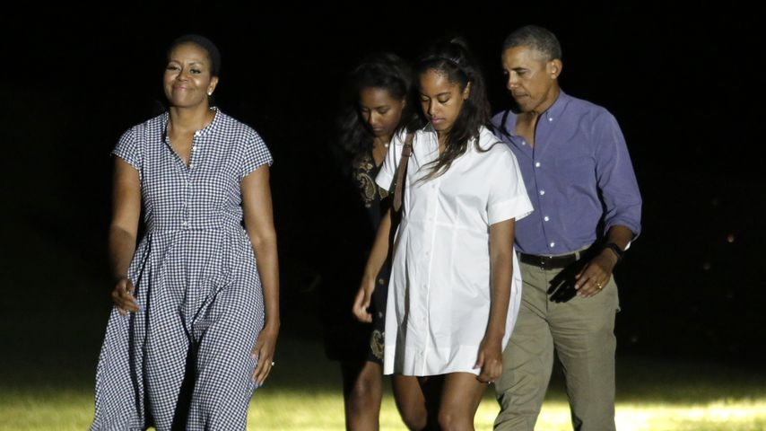 Michelle, Sasha, Malia und Barack Obama im August 2016