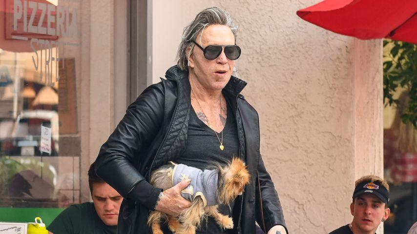 Mickey Rourke mit seinem Hund in Los Angeles
