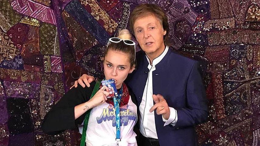 Miley Cyrus mit Paul Mccartney bei einer Kampagne für Hillary Clinton