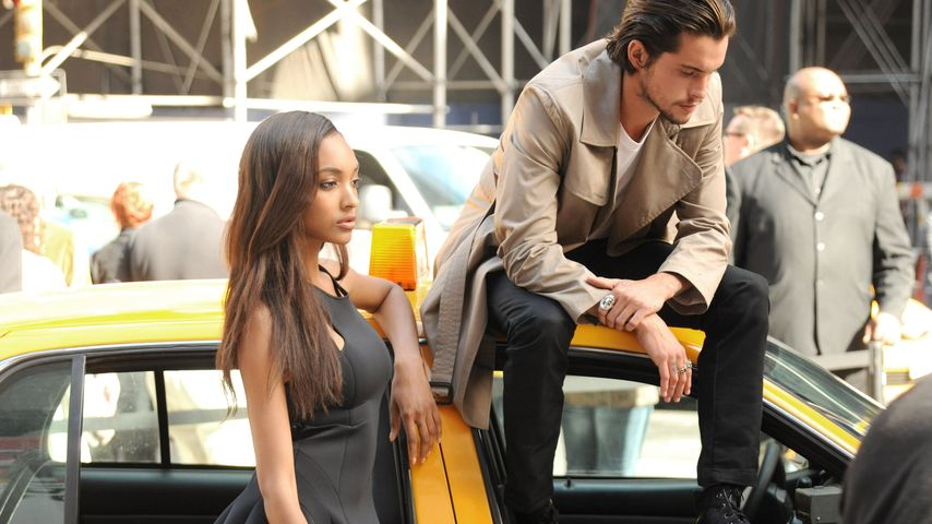 Model Jourdan Dunn und Kollege Dylan Rieder beim DKNY-Shooting in NYC