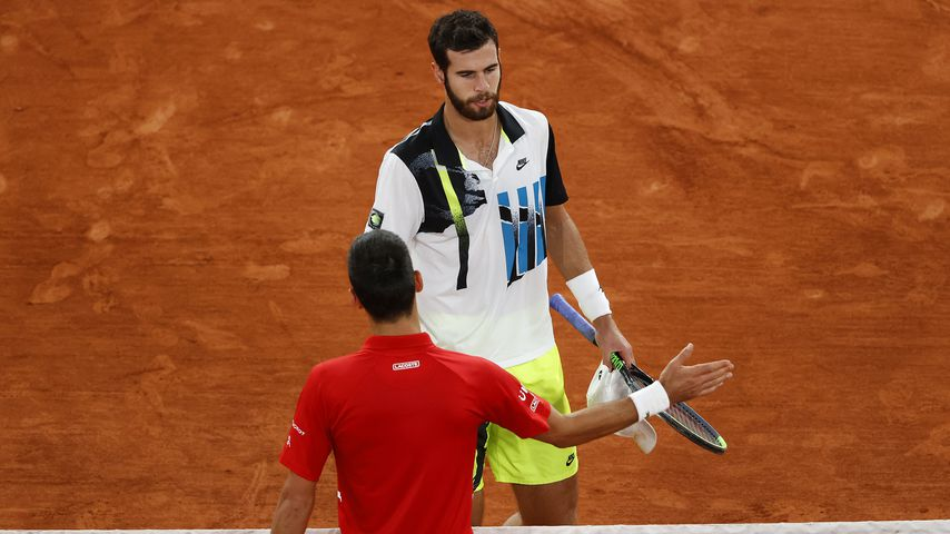 Novak Djokovic und Karen Khachanov bei den French Open