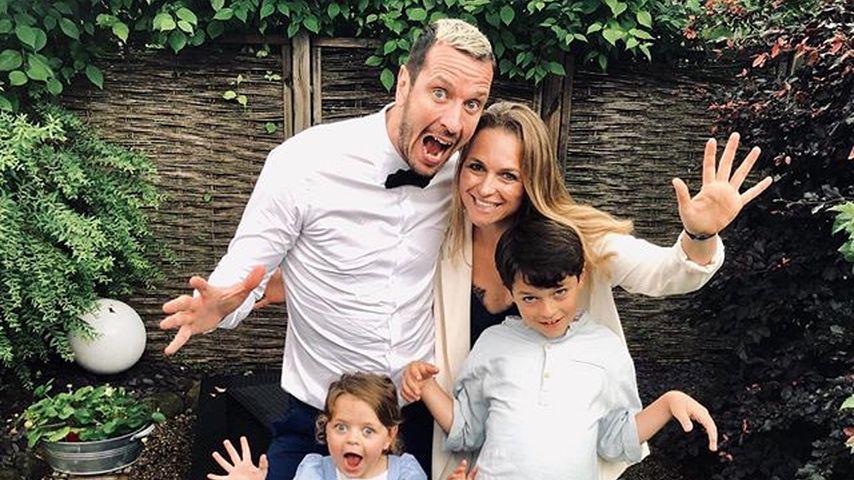Pascal Hens mit seiner Frau Angela und den Kindern Mila und Noah Ben