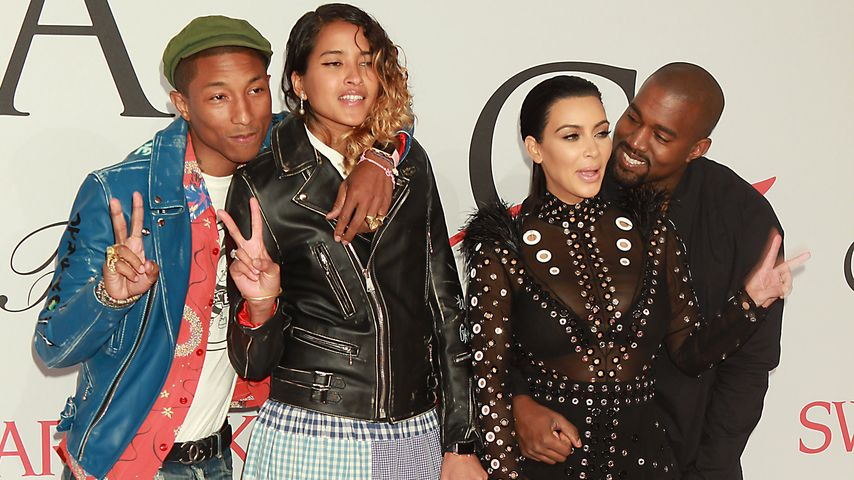 Kim Kardashian, Kanye West, Pharrell Williams und Helen Lasichanh