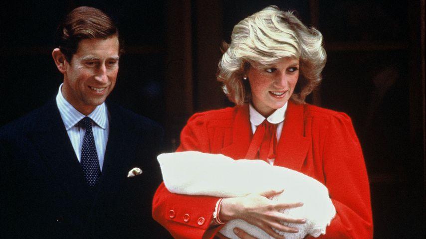 Prinz Charles und Prinzessin Diana mit Prinz Harry, September 1984