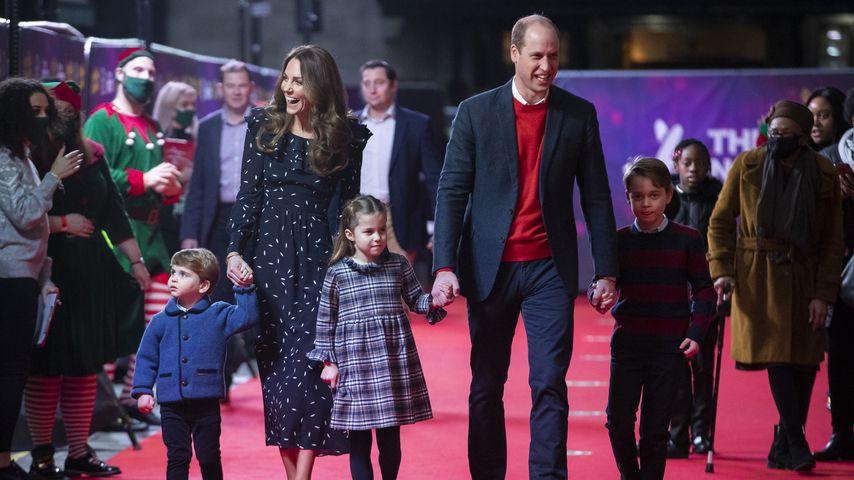 Herzogin Kate, Prinz William und ihre drei Kids auf einem Event in London im Dezember 2020