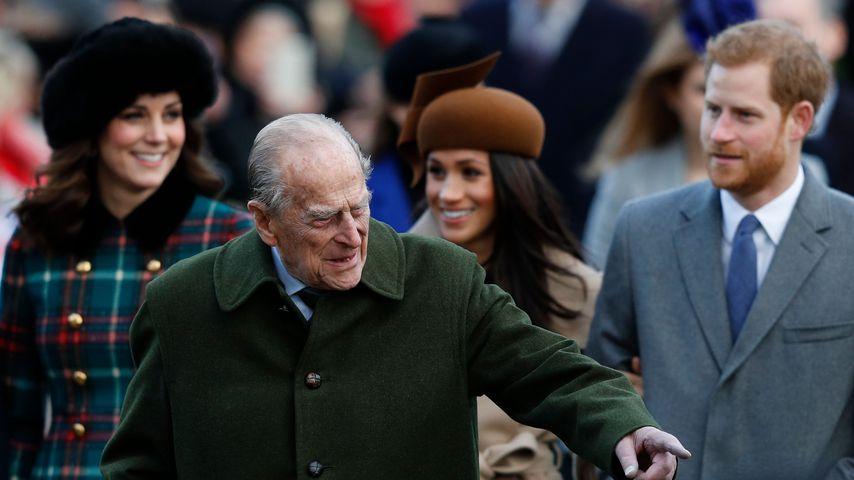 Prinz Philip mit Prinz Harry, Herzogin Meghan und Herzogin Kate