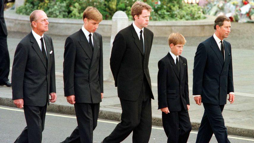 Prinz Philip, Prinz William, Charles Spencer, Prinz Harry und Prinz Charles
