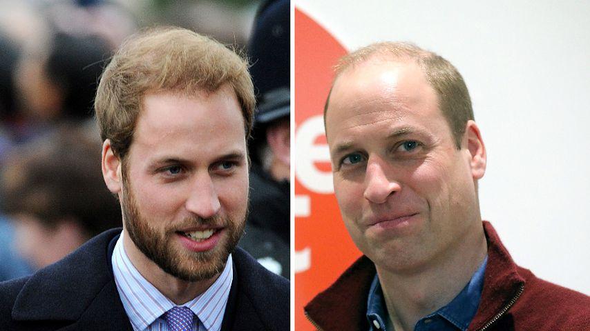 Collage: Prinz William 2008 und 2019