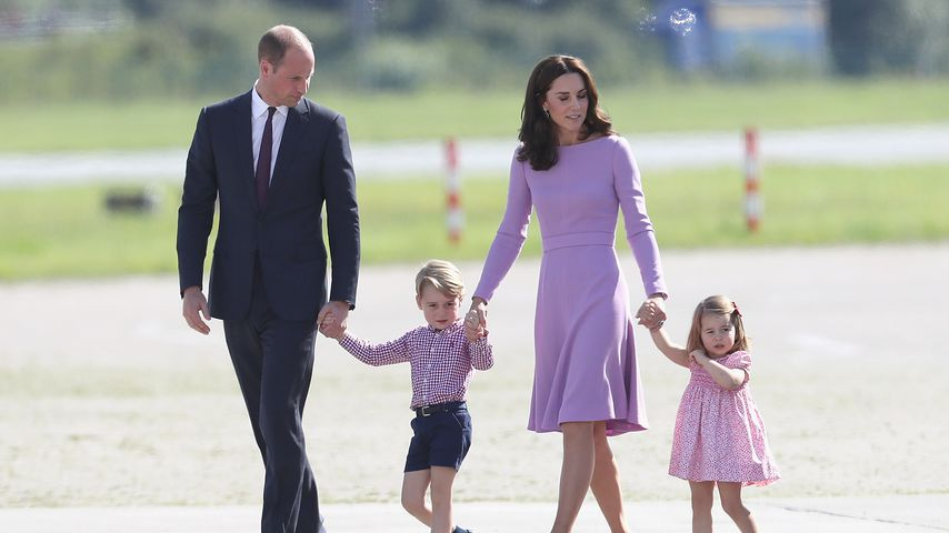 Prinz William, Prinz George, Herzogin Kate und Prinzessin Charlotte in Hamburg, Juli 2017