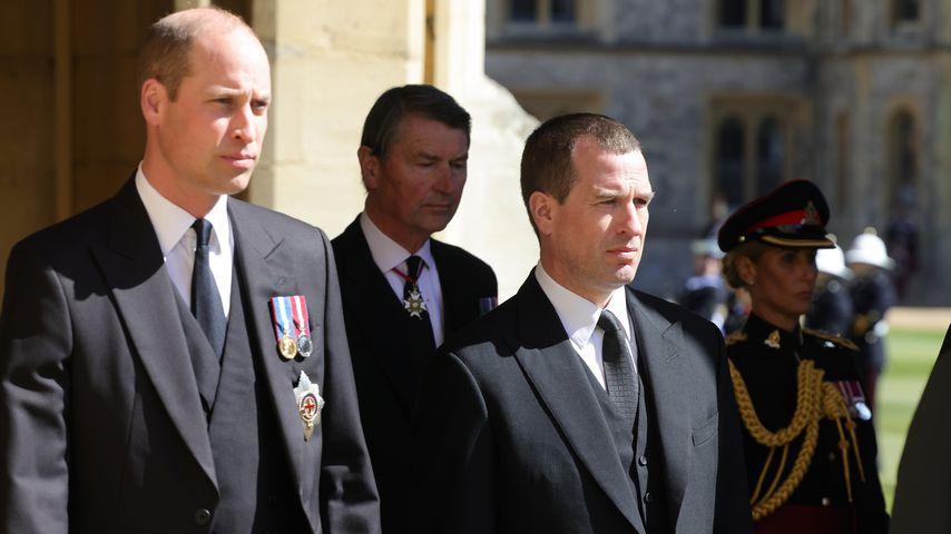 Prinz William und Peter Phillips bei der Beerdigung von Prinz Philip