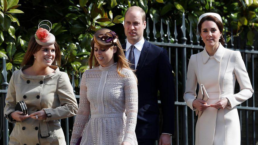 Prinzessin Eugenie, Prinzessin Beatrice, Prinz William und Herzogin Kate