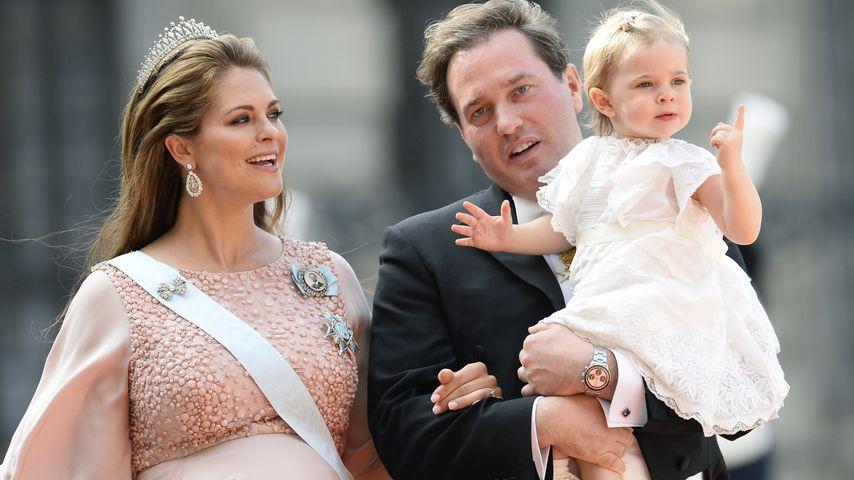Prinzessin Leonore von Schweden, Madeleine von Schweden und Christopher O'Neill