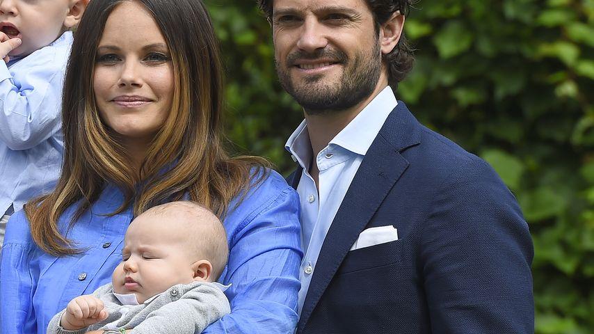 Prinzessin Sofia mit Prinz Alexander und Prinz Carl Philip beim Familien-Fotoshooting