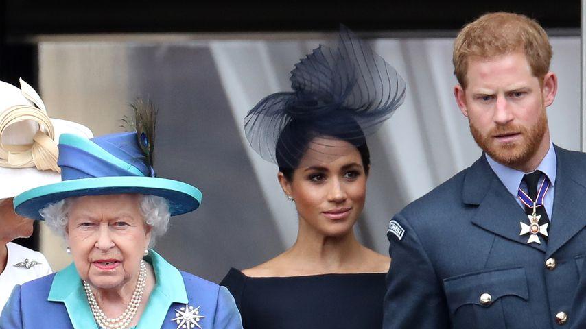 Queen Elizabeth II., Prinz Harry und Herzogin Meghan im Juli 2018