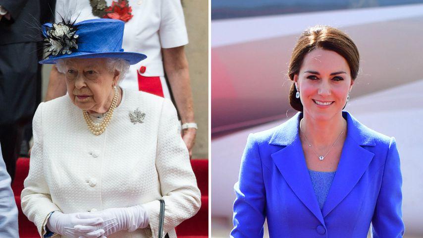 Outfit abgesprochen? Die Queen stylt sich wie Kate & Co.
