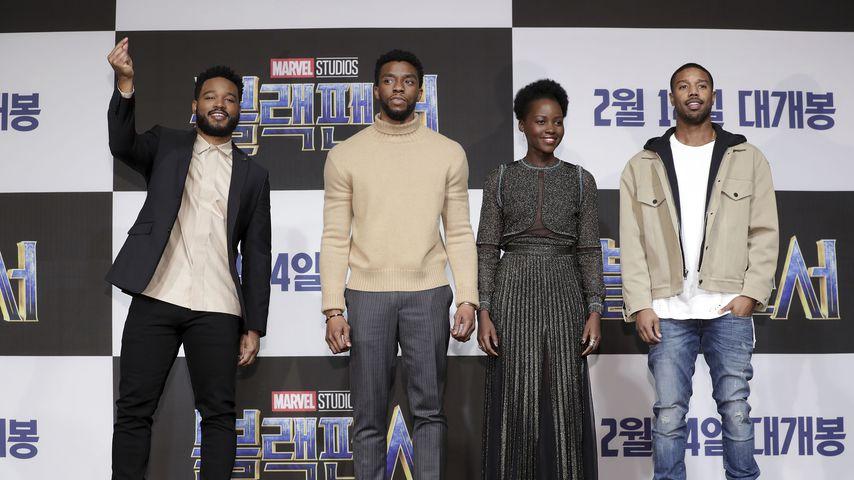 Ryan Coogler, Chadwick Boseman, Lupita Nyong'o und Michael B. Jordan, 2018