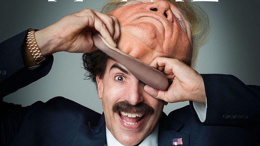 Sacha Baron Cohen in seiner Rolle als Borat und mit Trump-Maske