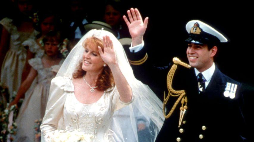 Sarah Ferguson und Prinz Andrew an ihrem Hochzeitstag, Juli 1986