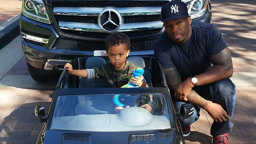 Sire Jackson und Papa 50 Cent bei Sires zweitem Geburtstag