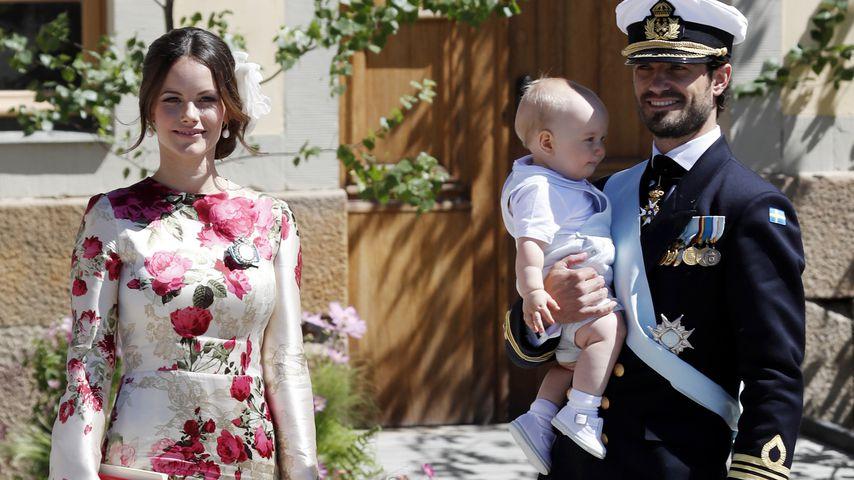 Sofia, Alexander, Gabriel und Carl Philip von Schweden bei der Taufe von Prinzessin Adrienne