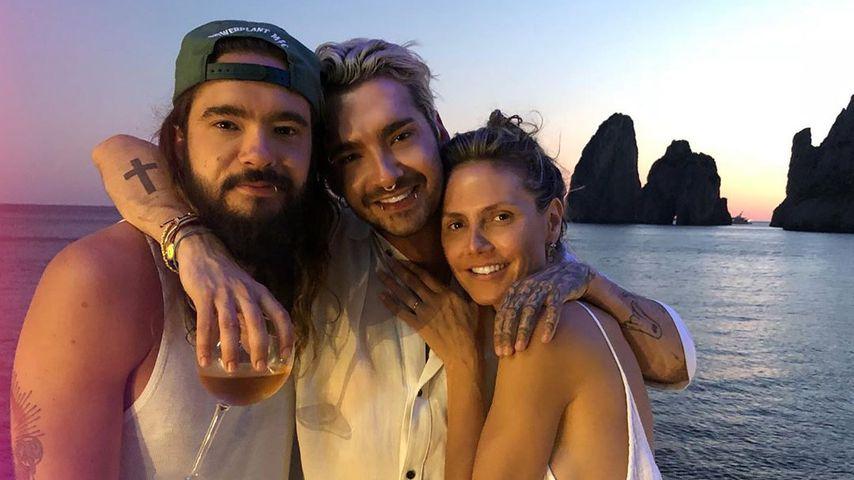 Tom und Bill Kaulitz mit Heidi Klum im August 2019 auf Capri