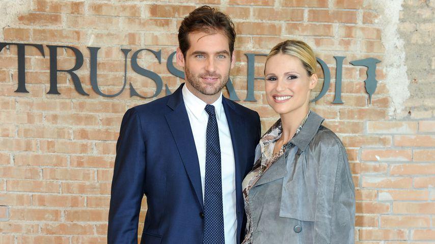 Tomaso Trussardi und Michelle Hunziker bei einer Fashion Show in Mailand