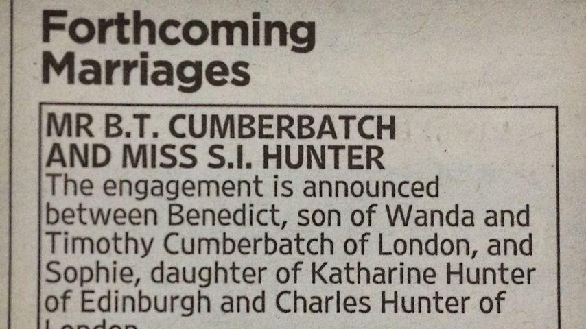 Verlobungsanzeige von Benedict Cumberbatch und Sophie Hunter