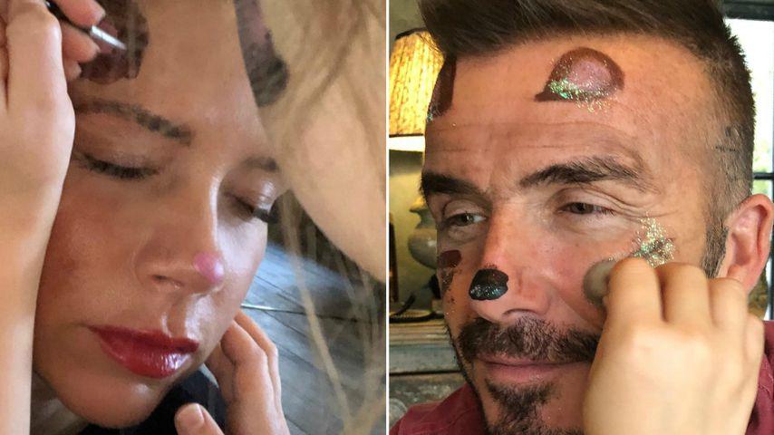 Mit jeder Menge Glitzer: Harper Beckham schminkt Mama & Papa