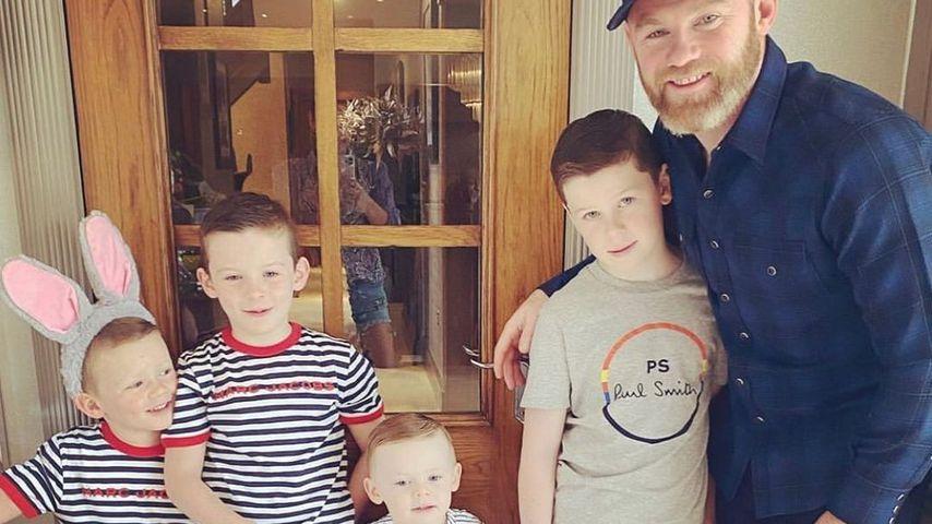 Wayne Rooney mit seinen Kindern Kai, Klay, Kit und Cass an Ostern 2020