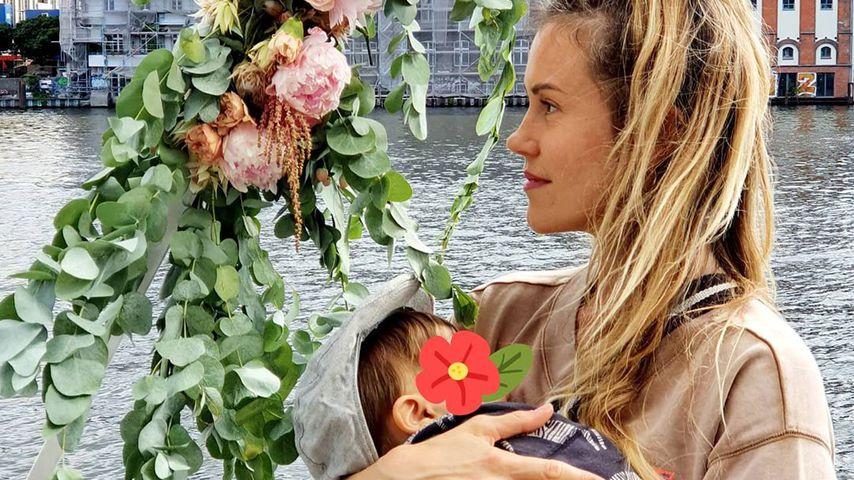 Wolke Hegenbarth und ihr Sohn im Juli 2020 in Berlin