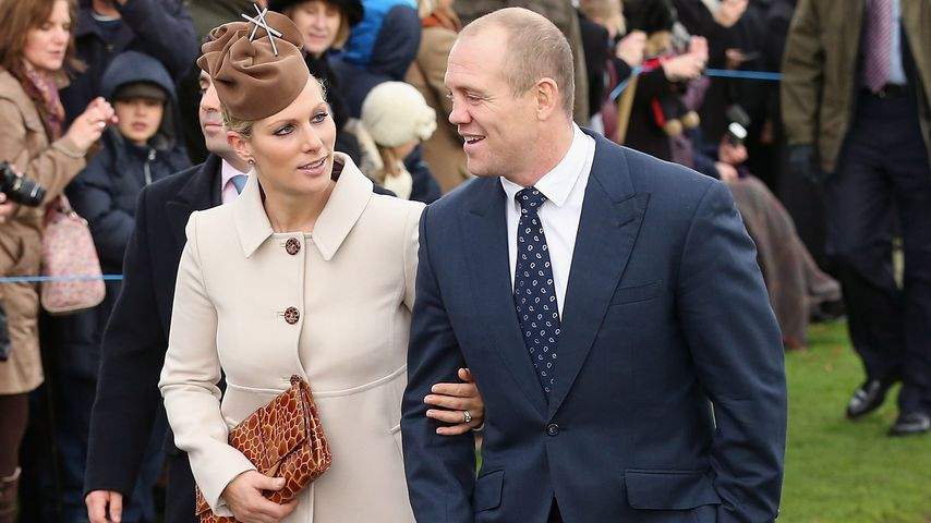 Zara und Mike Tindall auf dem Weg zum Weihnachtsgottesdienst in Sandringham, 2012