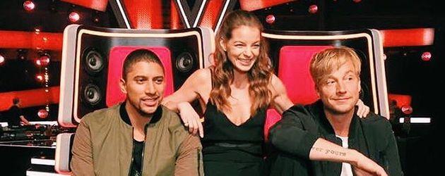 """Andreas Bourani mit Yvonne Catterfeld und Samu Haber am """"The Voice""""-Set"""