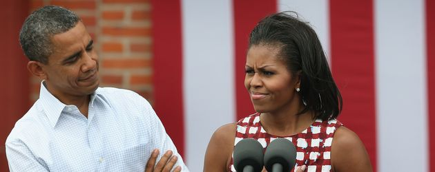 Barack Obama und Michelle Obama in Dubuque, Iowa