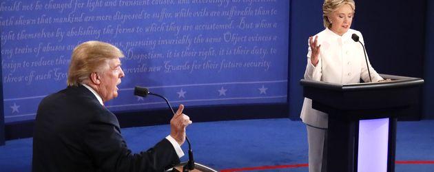 Donald Trump und Hillary Clinton bei der 3. TV-Debatte in Las Vegas