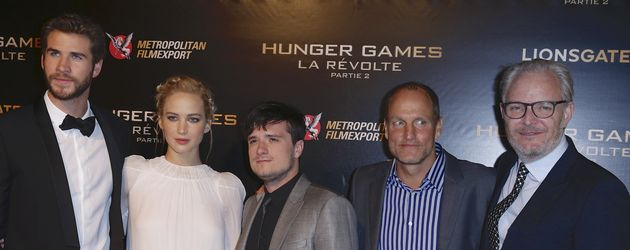 Liam Hemsworth, Jennifer Lawrence, Josh Hutcherson, Woody Harrelson und Francis Lawrence