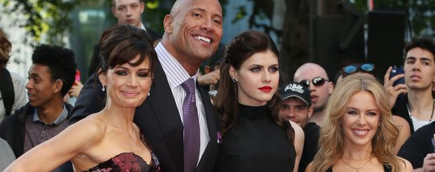 "Kylie Minogue, Dwayne ""The Rock"" Johnson, Carla Gugino und Alexandra Daddario"