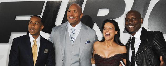 """Dwayne """"The Rock"""" Johnson, Michelle Rodriguez, Ludacris und Tyrese Gibson"""
