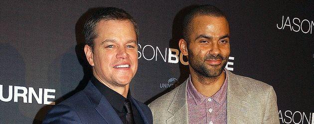 Matt Damon und Basketball-Star Tony Parker