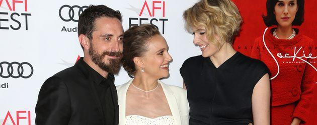 """Natalie Portman mit Pablo Larrain und Greta Gerwig auf """"Jackie""""- Filmpräsentation"""