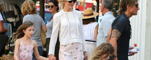 Nicole Kidman mit ihrem Mann Keith Urban und ihren Kindern Sunday Rose und Faith Margaret