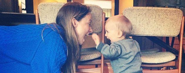 Schauspieler Olivia Wilde mit ihrem Sohn Otis