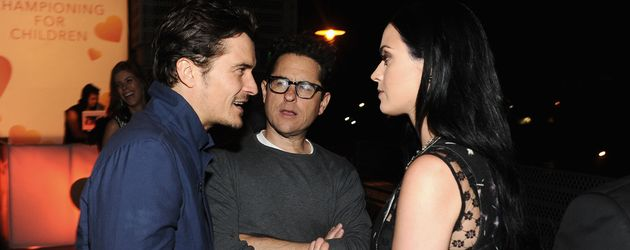 Orlando Bloom, J.J. Abrams und Katy Perry im April 2013 in Santa Monica