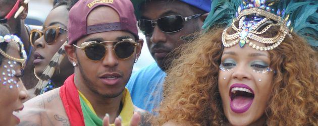 Lewis Hamilton und Rihanna auf dem Karneval in Barbados 2015