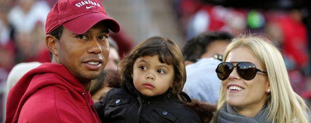 Tiger Woods mit Tochter Sam und Ex-Frau Elin Nordegren 2009 in Palo Alto