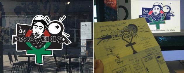 Tupacs Zeichnungen und das Logo des Pop-up Restaurants